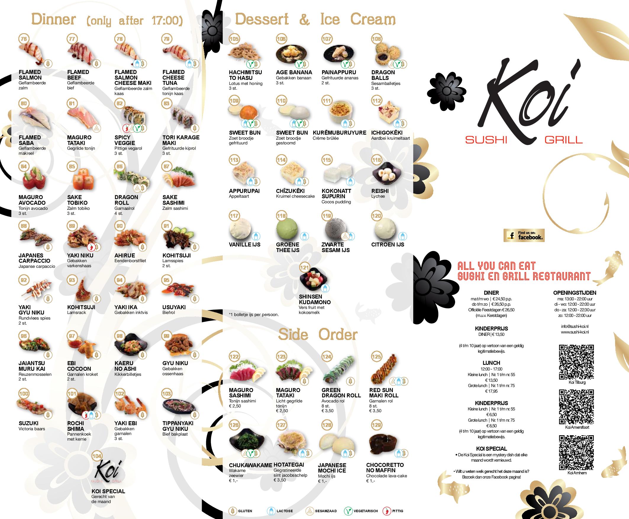 Menukaart 2016 sushi koi arnhem for Koi sushi arnhem