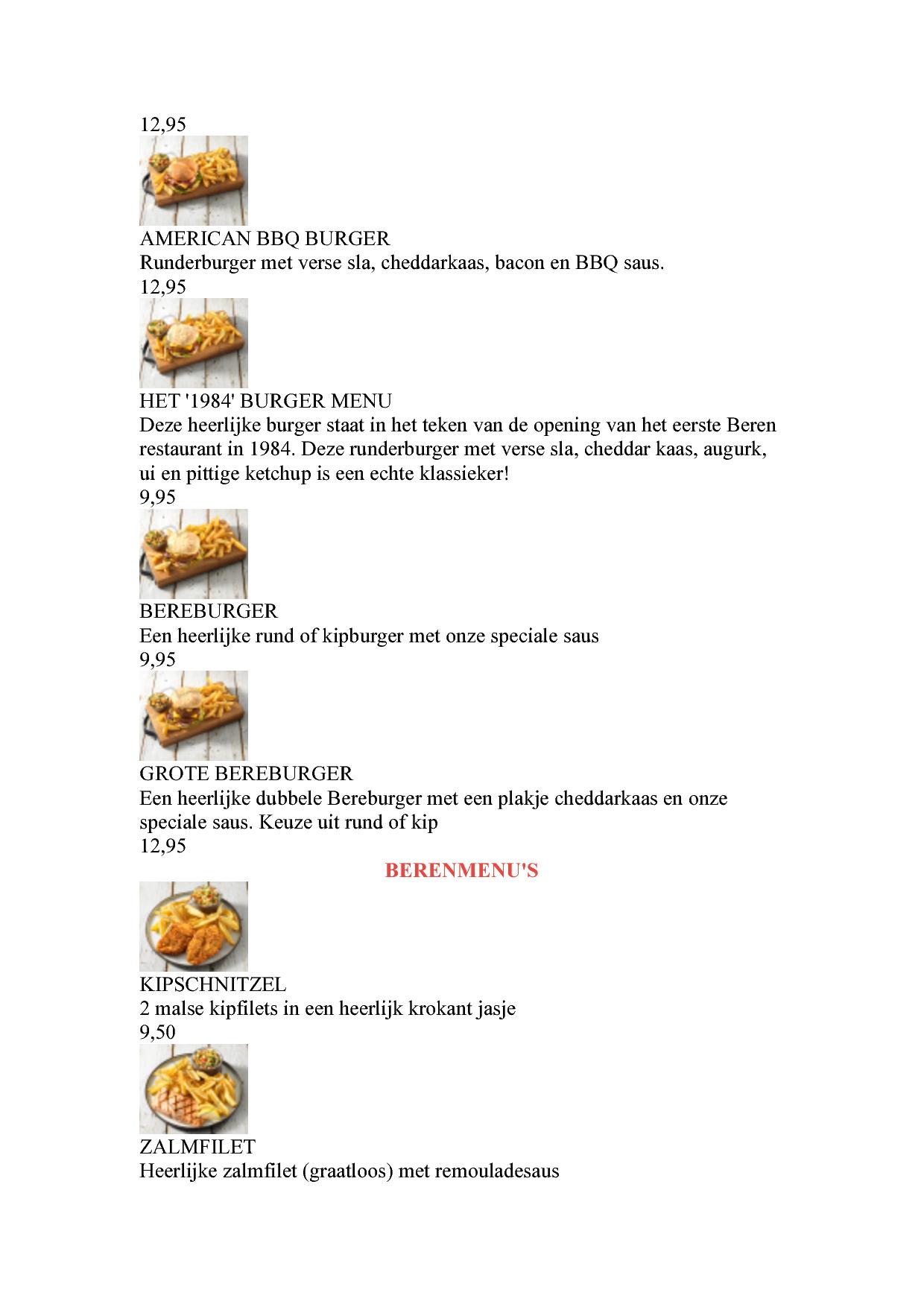 Menukaart De Beren Zoetermeer Eetnu